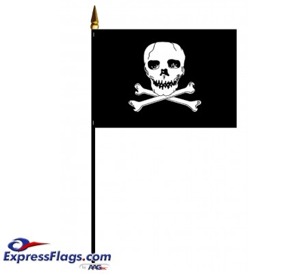 4in x 6in E-Gloss  Jolly Roger Flags - Mounted080681