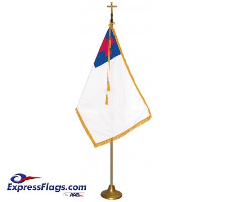 Deluxe Aluminum Pole Christian Flag Indoor Display SetsFSA-C
