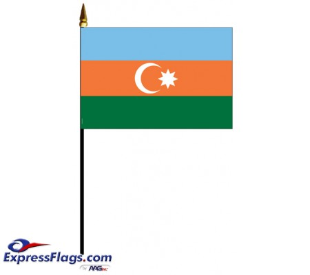 Azerbaijan Mounted Flags - 4in x 6in030328