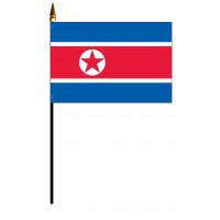 Korea, North Mounted Flags - 4in x 6in