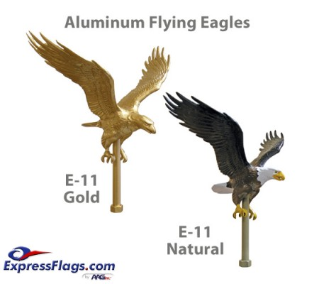 12in Aluminum Flying Eagle Outdoor Pole Ornaments - 11-1/4in Wing SpanE-11