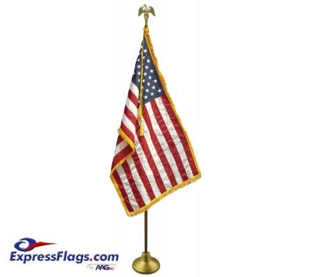 Deluxe Oak Finish Pole U.S. Flag Indoor Display SetsFW