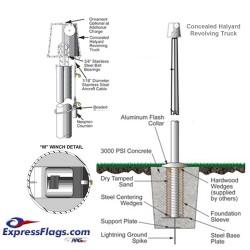 Hurricane Series Aluminum Commercial Grade Flagpoles - Internal Halyard (5)