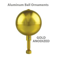Aluminum Ball Outdoor Flagpole Ornaments - Gold Anodized Finish