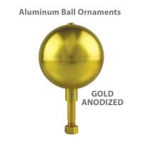 Aluminum Ball Outdoor Flagpole Ornaments - Gold Anodized Finish