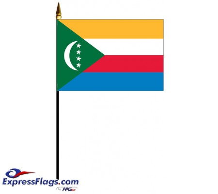 Comoros Mounted Flags - 4in x 6in030958