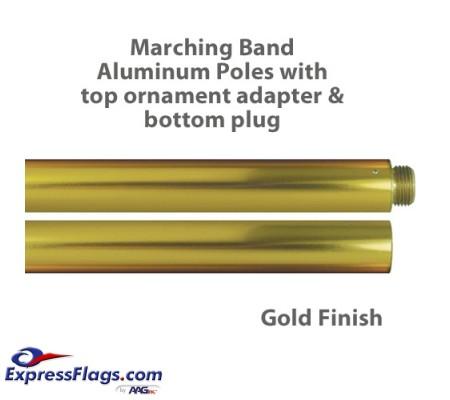 Aluminum Marching Band Poles - Ornament Adapter & Bottom Plug, GoldMP-G