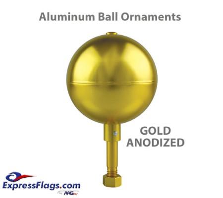 Aluminum Ball Outdoor Flagpole Ornaments - Gold Anodized FinishSB-GA