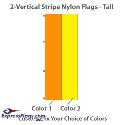 2-Vertical Stripe Nylon Tall Flags - 8ft x 3ftNY-T2VS-83