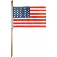 Plastic U.S. Stick Flags - 4in x 6in - Made in USA