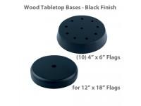 Wood Tabletop Flag Bases - Black Finish