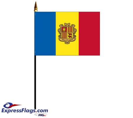 Andorra Mounted Flags with Seal - 4in x 6in030095