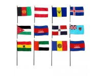 4in x 6in World Stick Flags - Mounted