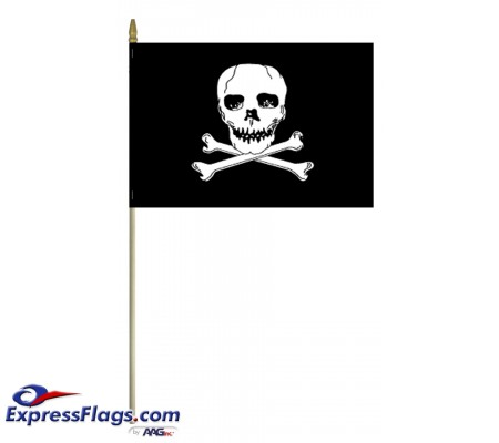 12in x 18in E-Poly  Jolly Roger Flags - Mounted080682