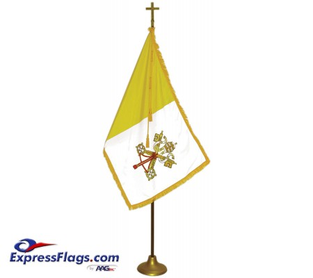 Deluxe Aluminum Pole Papal / Catholic Flag Indoor Display SetsFPA