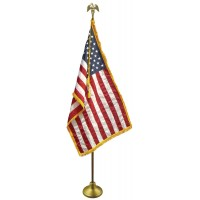 Deluxe Oak Finish Pole U.S. Flag Indoor Display Sets