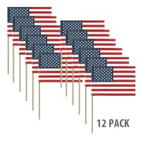 12in x 18in No-Fray Cotton U.S. Stick Flags - No Tip (12 pack)