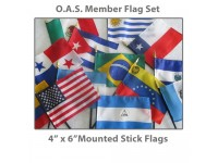 4in x 6in Complete O.A.S. Member Stick Flags - 35 Mounted Flags