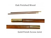Oak Finished Wood Indoor Poles - Gold Finish Solid Brass Screw Joint
