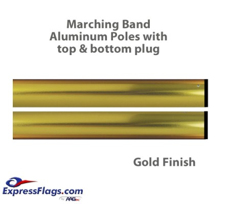 Aluminum Marching Band Poles - Top & Bottom Plug, GoldMP2-G