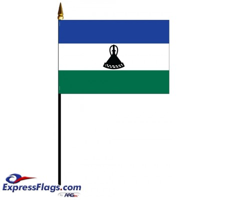 Lesotho Mounted Flags - 4in x 6in032408
