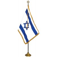Deluxe Aluminum Pole Zion / Israel Flag Indoor Display Sets