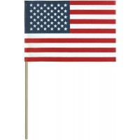 No-Fray Cotton U.S. Stick Flags - No Tip - Made in USA
