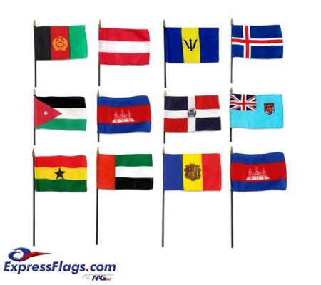 4in x 6in World Stick Flags - MountedISF-46