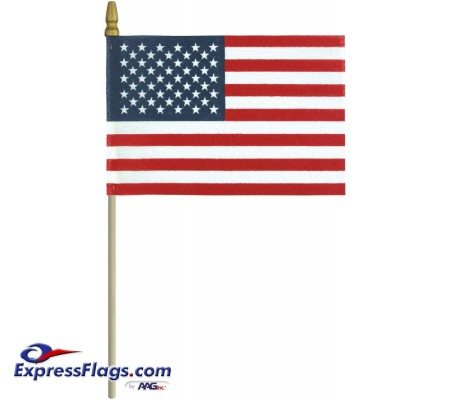 No-Fray Cotton U.S. Stick Flags - Spear Tip - Made in USANFCS-USSF