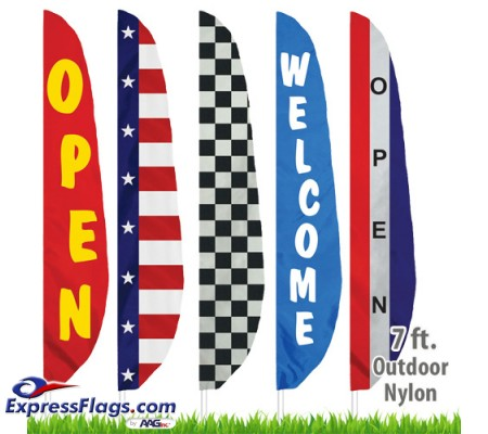 Nylon Stock Message Feather Flags - 7 Ft.NYL-FTHR7-SM