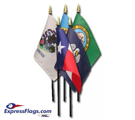 4in x 6in 50 State Stick Flag Set - E-Gloss022040