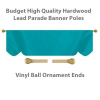 Budget Wood Lead Parade Banner Poles with Vinyl Ball Ornament Ends