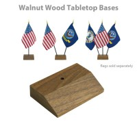 Walnut Wood Tabletop Flag Bases