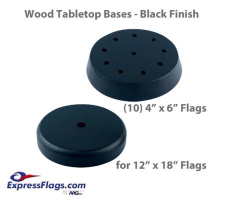 Wood Tabletop Flag Bases - Black FinishStyle 3