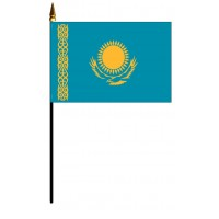 Kazakhstan Mounted Flags - 4in x 6in
