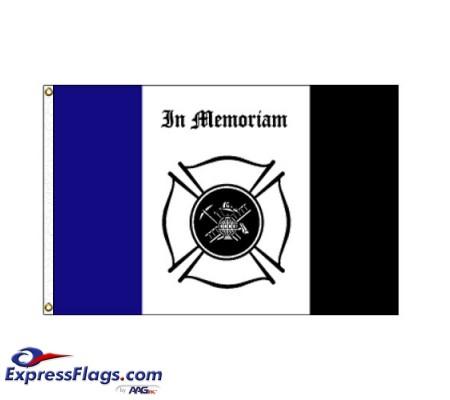 Fireman Mourning Flag - 3  x 5  Endura-Nylon070312