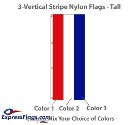 3-Vertical Stripe Nylon Tall Flags - 8  x 3NY-T3VS-83