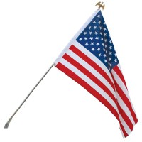 Standard U.S. Flag & Flagpole Set - Wall Mount