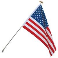 Economy U.S. Flag Set - Wall Mount