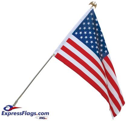 Standard U.S. Flag & Flagpole Set - Wall MountS-USFS