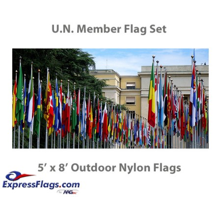 5  x 8  Complete U.N. Member Flags - 193 Outdoor Nylon Flags034641