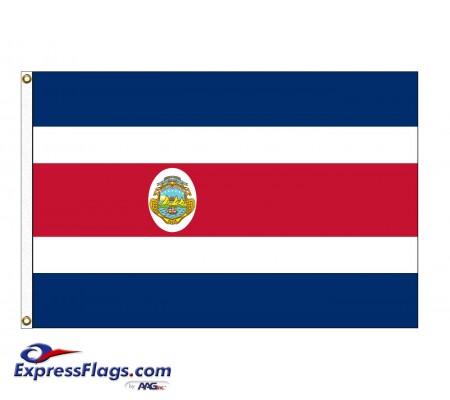Costa Rica with Seal Nylon Flags  (UN, OAS Member)CRI-NYL