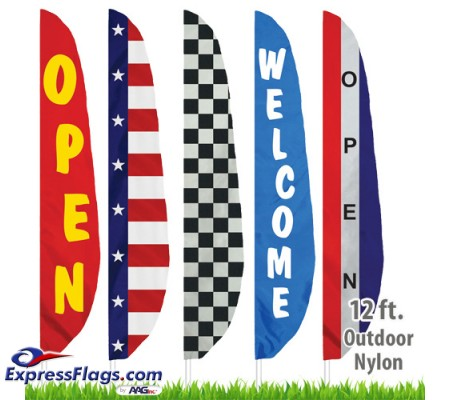 Nylon Stock Message Feather Flags - 12 Ft.NYL-FTHR12-SM