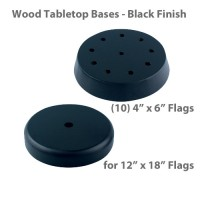Wood Tabletop Flag Bases - Black Finish