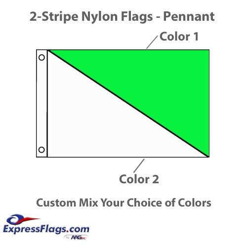 2-Diagonal Stripe Nylon Flags - RectangleNY-R2DS