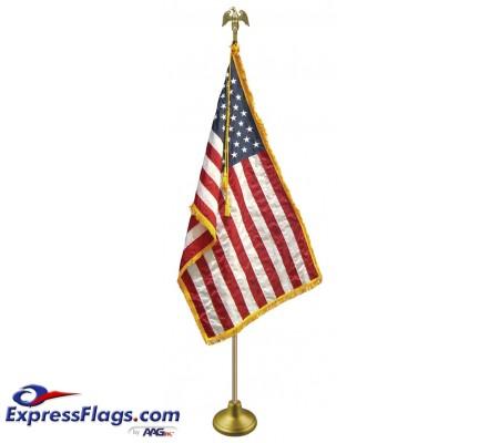 Deluxe Aluminum Pole U.S. Flag Indoor Display SetsFA