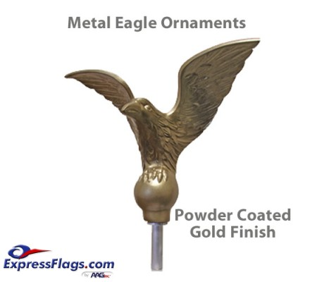 Flying Eagle Outdoor Flagpole Ornaments -  Gold Finish MetalE-PC