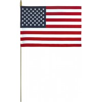Lightweight Cotton U.S. Stick Flags - Made in USA