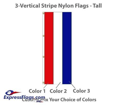 3-Vertical Stripe Nylon Tall Flags - 8  x 3NY-T3VS-83