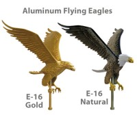 18in Aluminum Flying Eagle Outdoor Flagpole Ornaments - 15in Wing Span
